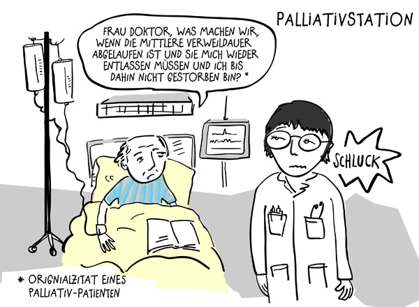 Illustration: Patient auf der Palliativstation